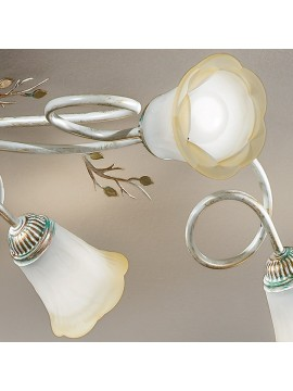 Classic ceiling lamp in wrought iron 6 lights elena cream-pl6