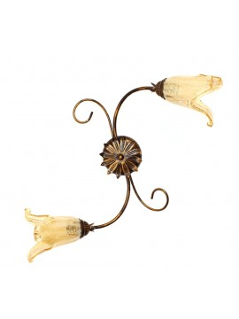 Classic ceiling lamp in wrought iron 2 lights Elisa