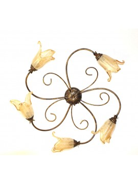 Classic ceiling lamp in wrought iron 5 lights Elisa