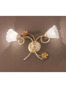 Contemporary wrought iron wall light 2 lights aida-ap2 cream
