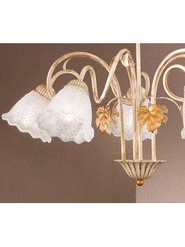 Contemporary wrought iron chandelier 5 lights aida-s5 cream