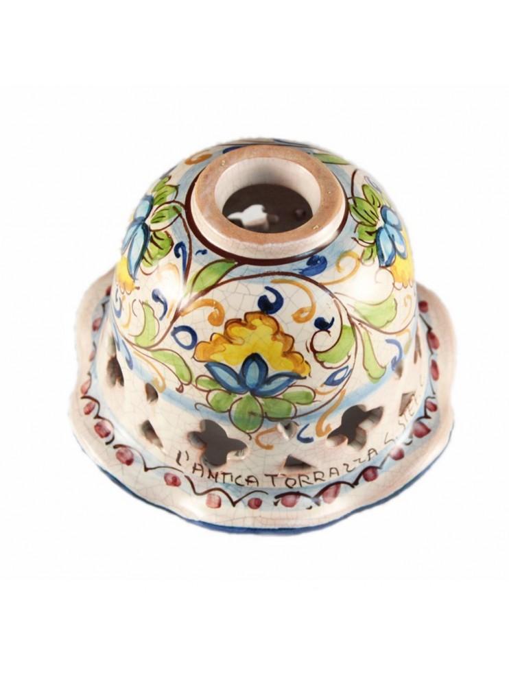 Piatto D.16 decoro fiori ceramica siciliana ricambio lampadario
