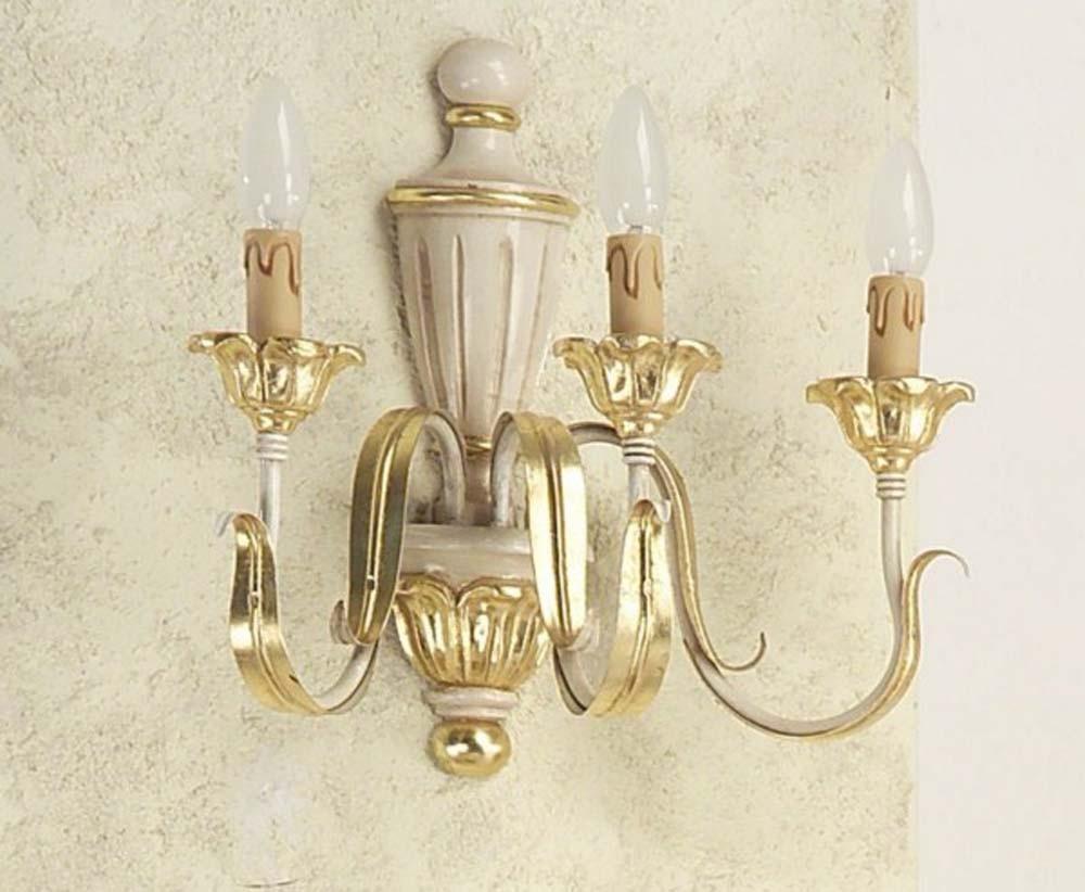 Applique classico in legno foglia oro avorio luci esse a
