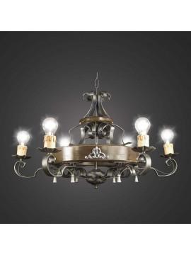 Rustic wrought iron chandelier 6 lights BGA 1167