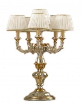 Lume flambeau classico in legno foglia argento-oro 6 luci Esse 785/6f