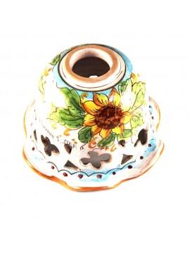 Piatto D.16 decoro Girasoli ceramica siciliana ricambio lampadario