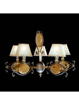Rustic chandelier in wrought iron wood 5 lights BGA 1071